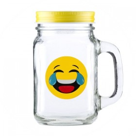 "Банка-кружка ""Emoji Happy Cry"", 450 ml."