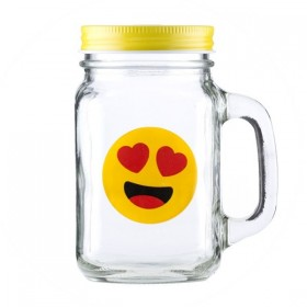 "Банка-кружка ""Emoji Love"", 450 ml."