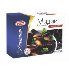 Мидии в ракушках в винном соку Приорити VICI замороженные, 500 г