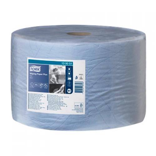 Бумага базовая протирочная в рулонах Tork Plus 2 слоя W1 синяя, 510 м