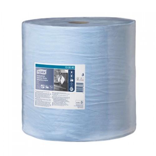Бумага базовая протирочная суперпрочная в рулонах Tork 3 слоя W1 синяя, 255 м