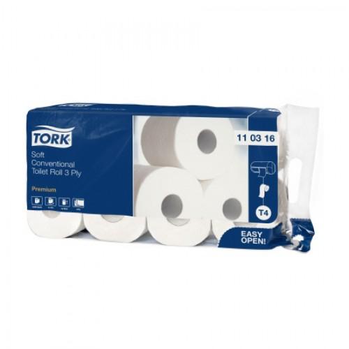 Бумага туалетная Tork в стандартных рулонах 3 слоя, 8 рул/упак