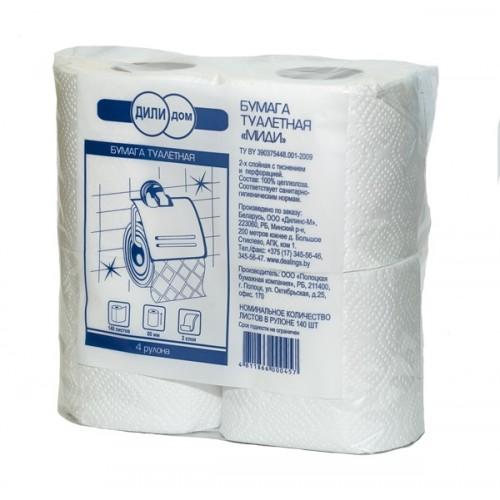 Бумага туалетная Дили Дом Миди в рулонах 2 слоя, 140 листов/4 упак