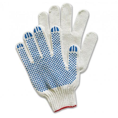Перчатки хлопчатобумажные с ПВХ 10 класс 4-х нитка Дили Дом Лого, белые