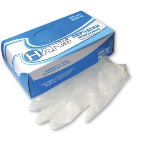Перчатки виниловые неопудренные Hans размер S, M, L, XL, 100 шт
