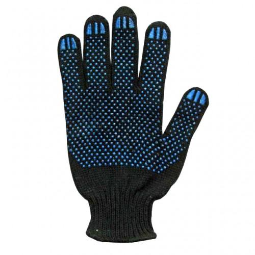 Перчатки хлопчатобумажные с ПВХ 10 класс 4-х нитка Дили Дом, черные