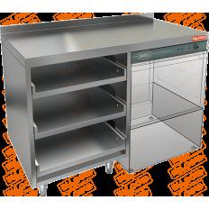Стол для корзин с бокалами и крылом под посудомойку Hicold НБМКБКП-12/5-7БП