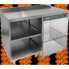 Стол закрытый с трех сторон под посудомоечную машину с полкой Hicold НБМСЗОПК-12/5-7БП