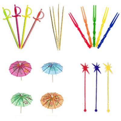 Зубочистки, зонтики, шпажки, пики, свизл стики