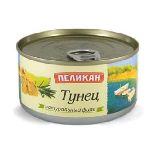 """Тунец натуральный филе """"Пеликан"""", 185 г"""