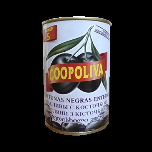 Черные маслины c косточкой Coopoliva, 350 г