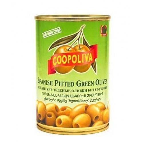 Зеленые оливки без косточки Coopoliva, 385 г