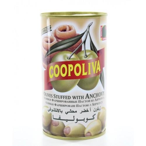 Зеленые оливки фаршированные анчоусом Coopoliva, 350 г