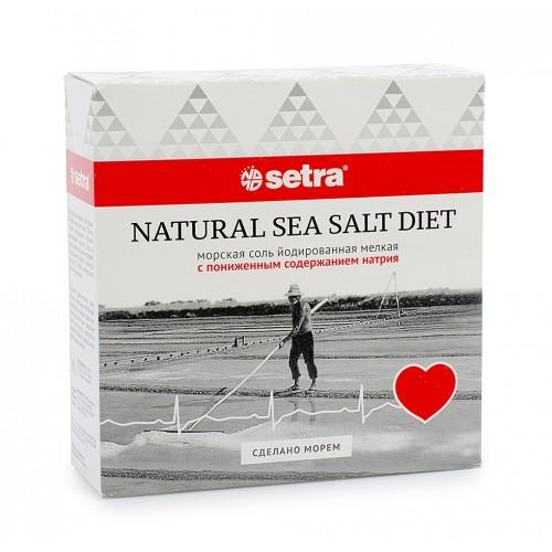 Соль морская Setra натуральная с пониженным содержанием натрия, 500 г