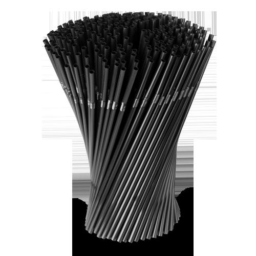 Трубочки 1000 шт, чёрные со сгибом , 0.5cm x 24cm