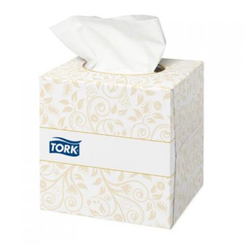 Салфетки для лица Tork Premium 2 слоя ультрамягкие в кубе, 100 листов