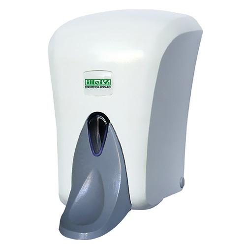 Диспенсер жидкого мыла белый локтевой пластиковый наливной Vialli S6M, 1000 мл