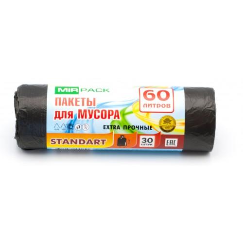 Мешки для мусора 60 л. MirPack Stardart 7 микрон, 30 шт