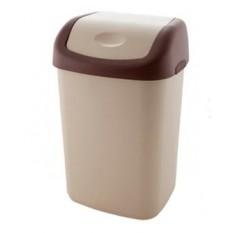 Ведро для мусора 14 литров с плавающей крышкой Дили Дом бежевое